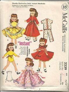 1950s Betsy McCall Doll Clothes Pattern Size 7.5 to