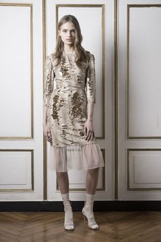 Francesco Scognamiglio Pre-Fall 2016 - Look 14 - Gold/ivory sequin dress with 3/4 sleeves and ivory tulle flounce. Tall white socks and heels. So throwaway, so innocent, so irresistible. OK, I'LL WEAR IT IF YOU INSIST.