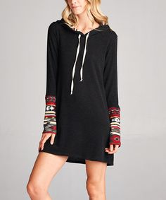 Look at this Love, Kuza Black & Burgundy Geometric Hooded Sweater Dress on #zulily today!