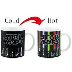 Watch this collection of lightsabers glow. All lightsabers belong to notable Star Wars characters and light up when you pour a hot cup. Features wrap around display of Luke Skywalker, Anakin Skywalker