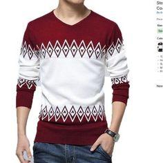 Lace Inn® hombres V cuello empalme Slim Fit Manga larga Pullover Sweater Coat