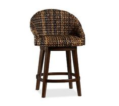 Seagrass Bucket Swivel Barstool, Counter Height, Havana Dark Weave    Kitchens, Stools And House