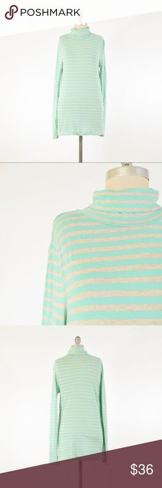 J.Crew Mint Green Striped Tissue-Weight Turtleneck Soft, lightweight cotton jersey turtleneck from J.Crew. This is their tissue weight cotton jersey, not too sheer and fine with a light colored bra. Light, mint green/aqua color horizontal stripes. Size L. J. Crew Tops Tees - Long Sleeve