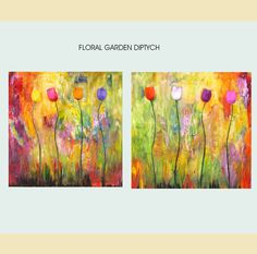 Large modern textured painting big bold floral by LaurenMarems