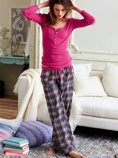 I just ordered this pajama set from Victoria's Secret, but with a gray shirt and red plaid pants, and I can't wait for them to get here and to never take them off!