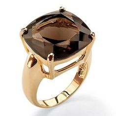 PalmBeach 14k Goldplated Faceted Smokey Quartz Ring - Overstock™ Shopping - Top Rated Palm Beach Jewelry Gemstone Rings