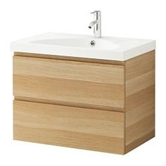 """GODMORGON / EDEBOVIKEN Sink cabinet with 2 drawers - $399. 31 1/2 x 19 1/4 x 25 1/4""""  white stained oak effect - IKEA"""