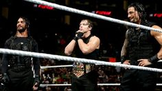Monday Night Raw 2/10/14. Dean Ambrose has just discovered who will challenge him for the United States Championship: Mark Henry.