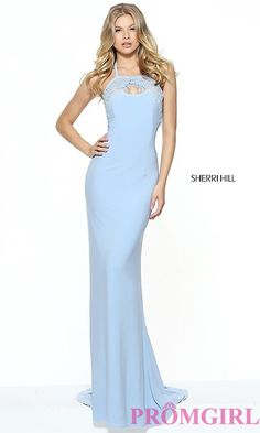 7cee63bba63bc49 Image of light blue open-back evening dress by Sherri Hill. Style: SH