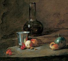 The Silver Goblet, 1728 by Jean-Baptiste-Simeon Chardin. Rococo. still life. Saint Louis Art Museum, St. Louis, MO, US