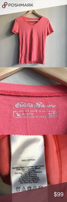 Eddie Bauer short sleeves v Neck tee Shirt 💋Super stylish and comfy. From non-smoking, non-pet home.   💋Add to bundle to save on shipping costs! Don't forget to add any two or more things in my closet and receive an extra 10% off! no trades.  💋About me: Please buy with confidence. I work to make sure my clients are happy!  I buy similar styles, trends, brands and sizes, please follow me to see new styles added every day. Eddie Bauer Tops Tees - Short Sleeve