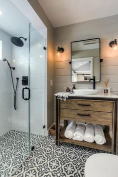 bathroom vanity tile farmhouse bathroom vanity powder room with wall mount faucet contemporary sconces bathroom vanity tile ideas #wallsconcescontemporary #wallsconcesideas #tilebathrooms #bathroomfaucets #bathroomideas #bathroomvanities