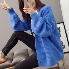 Autumn V-Neck Lantern Sleeve Sweater Coat Women Casual Solid Knitted Cardigan Button Single-Breasted Loose Sweater Loose Sweater, Sweater Coats, Long Sleeve Sweater, Sweater Cardigan, Blue Cardigan, Thick Sweaters, Sweaters For Women, Women's Sweaters, Coats For Women