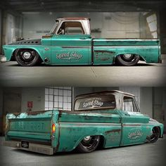 "Hot Wheels - The @classic_car_studio twin turbo 66 Chevrolet C10 ""Tiffany"" looking the goods, such a cool truck!  Source @classic_car_studio #chevrolet #gmc #c10 #airsuspension #bagged #accuair #elevel #streetmachine #hotrod #carporn #streettruck..."