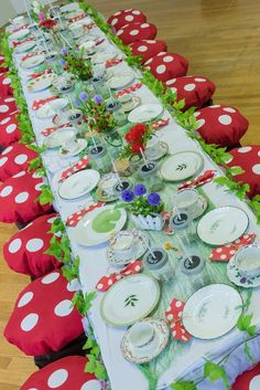 Loving this table setting at this Tinkerbell inspired party! The mushroom seat cushions are so cute! See more party ideas at CatchMyParty.com