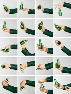 Hand holding bottle positions