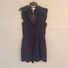 "BCBGeneration Navy Romper Sweet Swiss Dots. Ties at waist. Back is sheer, but rest is lined.  PayPal or Trades. Reasonable offers will be considered- lowball offers will be ignored! Please use the ""offer"" button- I don't negotiate in the comments! Bundles are automatically discounted through Posh! BCBGeneration Pants Jumpsuits & Rompers"