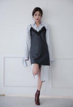 Strap Sleeve Button-Down Shirt Dress | STYLENANDA
