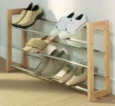 Extendable 3-Tier Wooden Shoe Rack  £30. 45.5cm high x 65 - 115cm wide x 21.5cm deep
