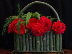 Country Wedding Table Setting Willow Twig Vase Flower Arranger Wedding Decor Rustic Basket Garden Gift. $89.50, via Etsy.