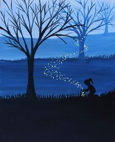 Learn to Paint Releasing Fireflies tonight at Paint Nite! Firefly Painting, Firefly Art, Painting & Drawing, Watercolor Paintings, Guache, Easy Paintings, Learn To Paint, Oeuvre D'art, Painting Inspiration