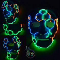 Lit Up Designs Custom Design Series;  The Molecular Mask! Do you know your molecules? Light Up EL Wire Mask 3 Eye-popping colors Over 16 Feet of El Wire!!! High Quality and Durable! One size fits most! Roomy Masks! Comfortable wide elastic strap Battery pack included with every mask!   Perfect for Halloween, Parties, Festivals, Raves, Electric Zoo, EDC, Coachella, Ultra, Burning Man all things edm and More!  The most LIT gear in the galaxy, Stand OUT. Turn Heads. Get Noticed.  Custom EL wire…