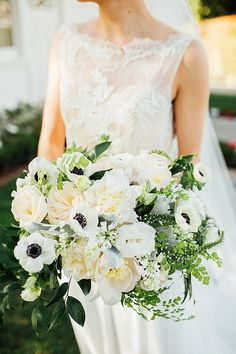 Modern Nautical Bridal Shoot with white and green floral bouquet