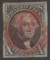 This gorgeous 10 cent Washington is one of the most iconic of all US Stamps.  It was the second stamp commissioned by the US government and was issued in early July, 1847.    The stark contrast of a red cancel against the black and white stamp would make for a beautiful addition to any stamp collection.