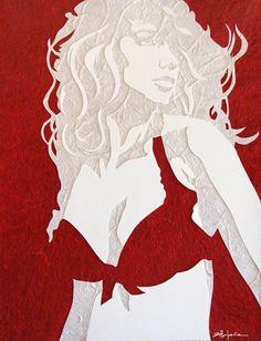 "Original Art , Female Figure in Mixed Media (handmade paper on paper) ""CRIMSON"" by Marcy Ann Villafaña Mosaic Art, Mosaics, Custom Art, Figurative Art, Fine Art Paper, Mixed Media Art, Altered Art, Original Art, Aurora Sleeping Beauty"