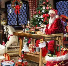 Santa'sroom Vintage Christmas Images, Whimsical Christmas, Magical Christmas, Christmas Scenes, Christmas Past, Very Merry Christmas, Christmas Pictures, Christmas Holidays, Christmas Decorations