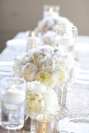 all white with lace and candles