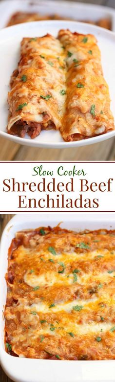 These easy Slow Cooker Shredded Beef Enchiladas are a family favorite! Click through for recipe!