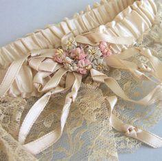 Antique Flapper Era Wedding Garter Ivory Satin Lace Silk Ribbonwork Flowers | eBay