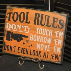 TOOL RULES Sign/Fathers Day Gift/Gift/Gift for Him/Harley Colors/Black/Orange on Etsy, $19.95
