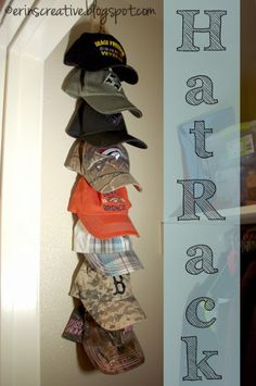 Free or Cheap DIY Hat Rack with clothespins.