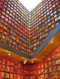 Omg this looks like the library in beauty and the beast! Iwaki Museum of Picture Books for Children, Japan