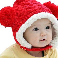 Amazon.com: LOCOMO Baby Infant Boy Girl Knit Crochet Rib Pom Pom Winter Hat Cap Hood Warm FBA008BRN Brown: Clothing
