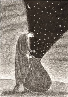 Leonid Tishkov, the starry sky is set free.  I love how it's kept in the bag.