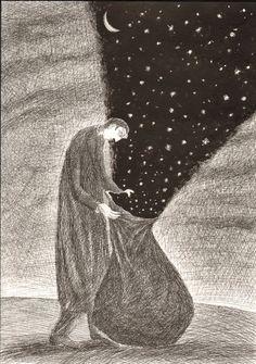 Leonid Tishkov, the starry sky is set free.  I love how it's kept in the bag.