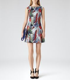 Womens Jungle Feather Feather Printed Dress - Reiss Ottoline