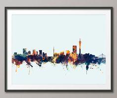 Johannesburg Skyline, Johannesburg South Africa Cityscape Art Print by… Framed Prints Uk, Poster Prints, Art Prints, Manchester Art, Manchester England, Johannesburg Skyline, Cityscape Art, Skyline Art, Africa Tattoos