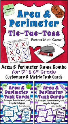 Awesome area and perimeter game for 5th and 6th graders! The Area & Perimeter Tic-Tac-Toss Game Combo includes the original game along with challenging Area and Perimeter Task Cards that include a variety of irregular polygons, triangles, and quadrilaterals. Customary and metric cards included. $
