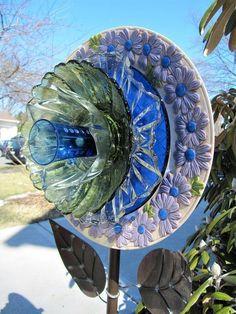 Glass garden flower, garden art, yard art,flower stake, plate flowers,dish flowers,upcycled, repuposed