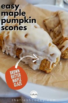 Looking for a simple fall breakfast recipe? Head over to The Fresh Cooky for the simple step-by-step recipe for these whole wheat, easy Fall Dessert Recipes, Great Desserts, Fall Desserts, Delicious Desserts, Yummy Food, Pumpkin Scones, Pumpkin Dessert, Hot Chocolate Fudge, Chocolate Heaven