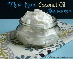Homemade Non-Toxic Coconut Oil Sunscreen Recipe | DeliciousObsessions.com
