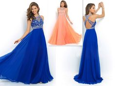 A-line Bateau Sleeveless Chiffon Prom Dresses/Evening Dresses With Rhinestone