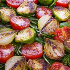 Here is a recipe for Roasted Brussel Sprouts, small tomatoes and onions. Bites of wonderful flavors.. Roasted Brussel Sprouts  Recipe from Grandmothers Kitchen.