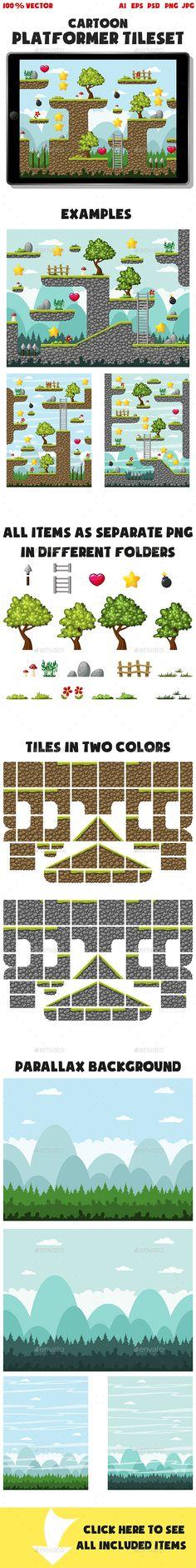 Cartoon Platformer Tileset - Tilesets Game Assets