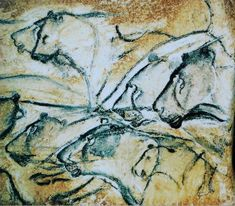 Lions  Cave Painting Chauvet Cave France Aurignacian Era   Art Print  #ChauvetCave #CavePainting