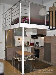 Sobre la cocina. Perfecta solución para ganar espacio en pequeños apartamentos.
